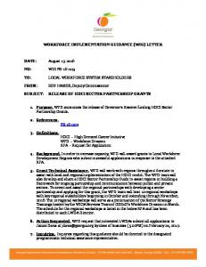 WORKFORCE IMPLEMENTATION GUIDANCE (WIG) LETTER