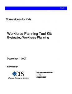Workforce Planning Tool Kit: Evaluating Workforce Planning