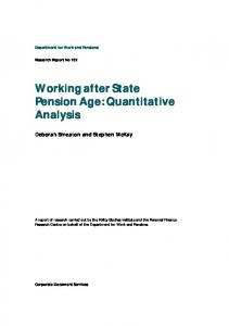 Working after State Pension Age: Quantitative Analysis