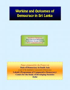 Working and Outcomes of Democracy in Sri Lanka
