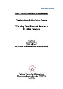 Working Conditions of Teachers in Uttar Pradesh