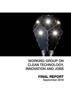 WORKING GROUP ON CLEAN TECHNOLOGY, INNOVATION AND JOBS FINAL REPORT