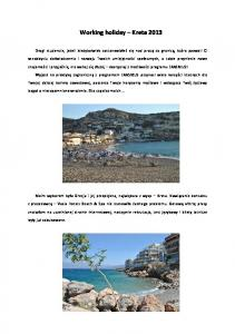 Working holiday Kreta 2013