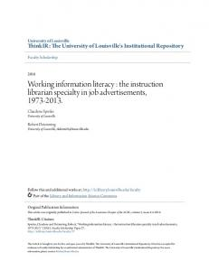 Working information literacy : the instruction librarian specialty in job advertisements,