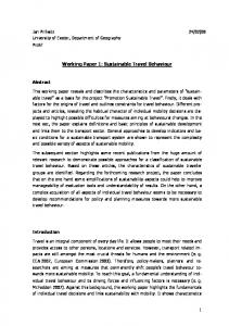 Working Paper 1: Sustainable Travel Behaviour