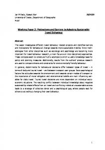 Working Paper 2: Motivations and Barriers to Adopting Sustainable Travel Behaviour