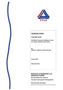 WORKING PAPER ITLS- WP INSTITUTE of TRANSPORT and LOGISTICS STUDIES. The Australian Key Centre in Transport and Logistics Management