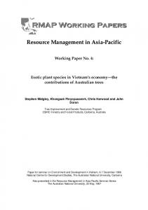Working Paper No. 4: Exotic plant species in Vietnam s economy the contributions of Australian trees