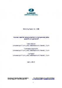 Working Paper no Human capital accumulation in temporary jobs: specific or general?