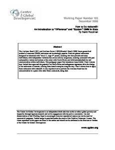 Working Paper Number 103 December 2006