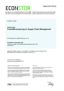 Working Paper Preisdifferenzierung im Supply Chain Management