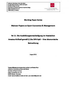 Working Paper Series. Mainzer Papers on Sport Economics & Management