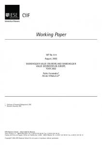 Working Paper. WP No 514 August, 2003 SHAREHOLDER VALUE CREATORS AND SHAREHOLDER VALUE DESTROYERS IN EUROPE. YEAR 2002
