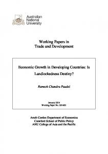 Working Papers in Trade and Development