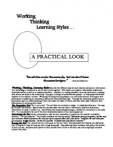 Working Thinking Learning Styles