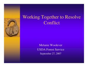 Working Together to Resolve Conflict