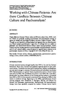 Working with Chinese Patients: Are there Conflicts Between Chinese Culture and Psychoanalysis?