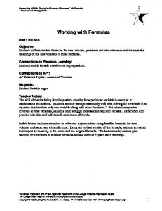 Working with Formulas