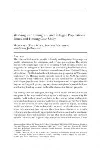 Working with Immigrant and Refugee Populations: Issues and Hmong Case Study