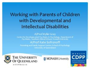 Working with Parents of Children with Developmental and Intellectual Disabilities