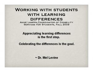 Working with students with learning differences