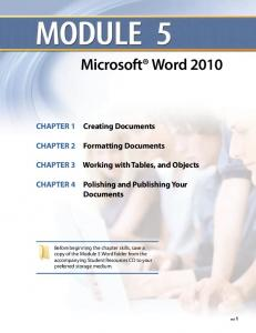 Working with Tables, and Objects. Polishing and Publishing Your Documents