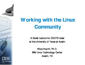 Working with the Linux Community