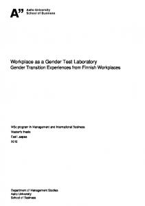 Workplace as a Gender Test Laboratory Gender Transition Experiences from Finnish Workplaces