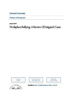 Workplace Bullying: A Review Of Litigated Cases