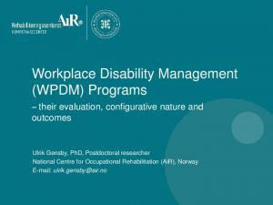 Workplace Disability Management (WPDM) Programs