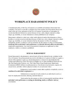 WORKPLACE HARASSMENT POLICY