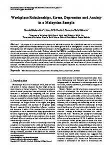 Workplace Relationships, Stress, Depression and Anxiety in a Malaysian Sample