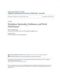 Workplace Spirituality, Meditation, and Work Performance