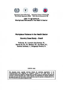 Workplace Violence in the Health Sector. Country Case Study Brazil