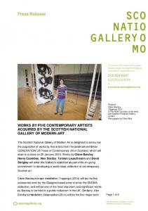 WORKS BY FIVE CONTEMPORARY ARTISTS ACQUIRED BY THE SCOTTISH NATIONAL GALLERY OF MODERN ART