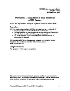 Worksheet: Taking Stock of Your Treatment ADHD Partner