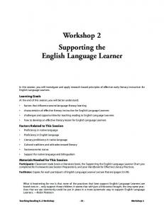 Workshop 2 Supporting the English Language Learner