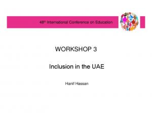 WORKSHOP 3. Inclusion in the UAE