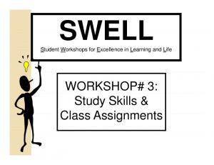 WORKSHOP# 3: Study Skills &