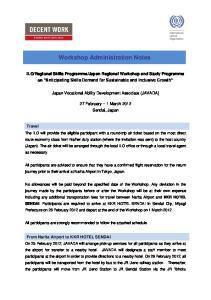 Workshop Administration Notes