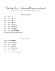 Workshop Facets of Quantum Homogeneous Spaces
