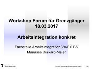 Workshop Forum für Grenzgänger Arbeitsintegration konkret