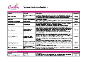 Workshop-Liste Creativa Basel 2016