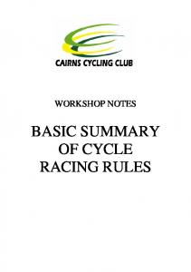 WORKSHOP NOTES BASIC SUMMARY OF CYCLE RACING RULES
