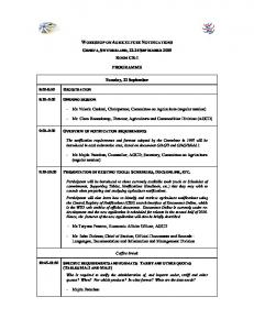 WORKSHOP ON AGRICULTURE NOTIFICATIONS