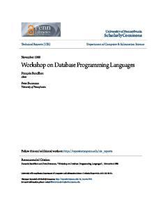 Workshop on Database Programming Languages