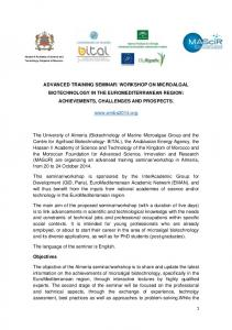 WORKSHOP ON MICROALGAL BIOTECHNOLOGY IN THE EUROMEDITERRANEAN REGION: ACHIEVEMENTS, CHALLENGES AND PROSPECTS