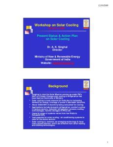 Workshop on Solar Cooling October 5, Background