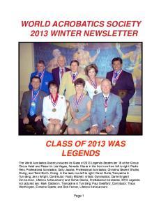 WORLD ACROBATICS SOCIETY! 2013 WINTER NEWSLETTER!
