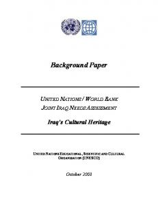WORLD BANK JOINT IRAQ NEEDS ASSESSMENT. Iraq s Cultural Heritage